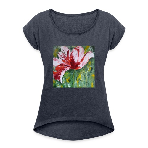 tulp met pallet mes - Vrouwen T-shirt met opgerolde mouwen