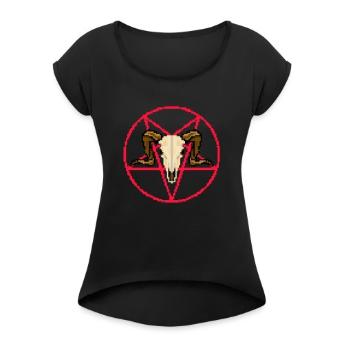 RamSkull 8bit - Vrouwen T-shirt met opgerolde mouwen