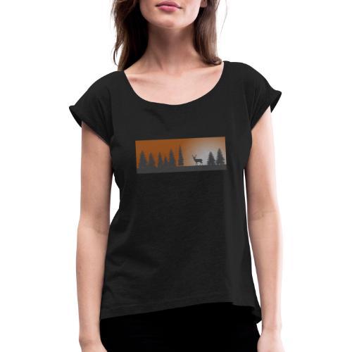 Abendmotiv - Frauen T-Shirt mit gerollten Ärmeln