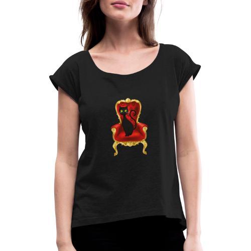 Katze auf Sessel - Frauen T-Shirt mit gerollten Ärmeln
