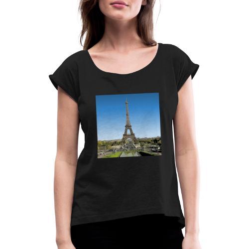tour eiffel manga - T-shirt à manches retroussées Femme
