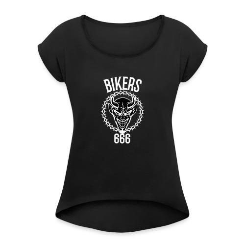 666 bikers black - T-shirt à manches retroussées Femme