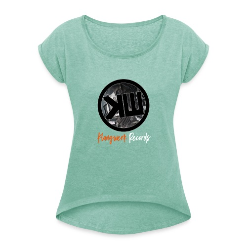 white logo tshirt - Women's T-Shirt with rolled up sleeves