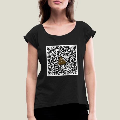 QR-kod bajshoroskop - T-shirt med upprullade ärmar dam