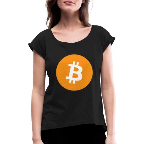 Bitcoin Merch - Dame T-shirt med rulleærmer