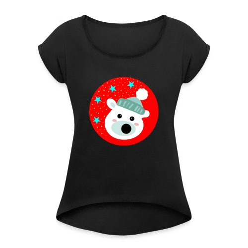 Winter bear - Women's T-Shirt with rolled up sleeves
