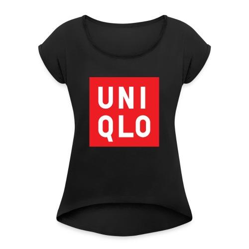 UNIQLO logo - Vrouwen T-shirt met opgerolde mouwen