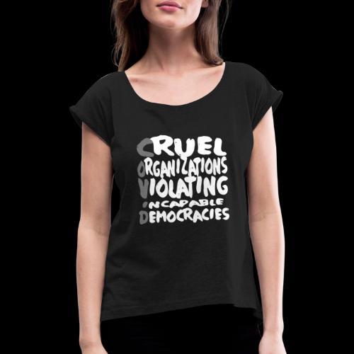 covid - Frauen T-Shirt mit gerollten Ärmeln
