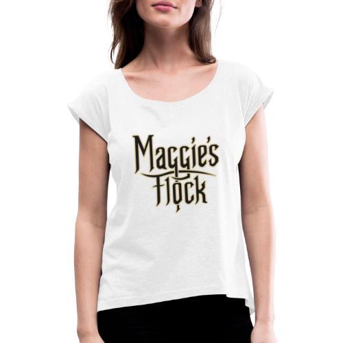 Maggie's Flock logo 2.0 - Vrouwen T-shirt met opgerolde mouwen