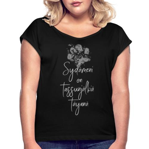 Sydämeni On Valkea - Naisten T-paita, jossa rullatut hihat