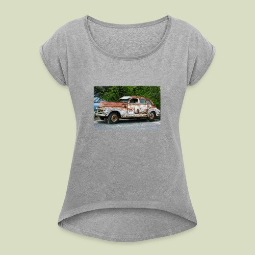 RustyCar - Naisten T-paita, jossa rullatut hihat