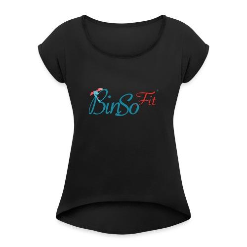 Binso Fit Tshirt Damen - Frauen T-Shirt mit gerollten Ärmeln