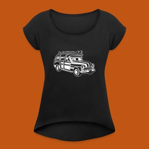 Chevy Cadilac Woodie / Oldtimer Kombi 01_weiß - Frauen T-Shirt mit gerollten Ärmeln