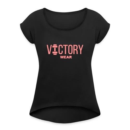 VICTORY LOGO BIG - Vrouwen T-shirt met opgerolde mouwen