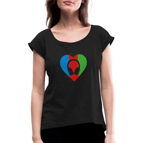 Silent Disco Love RGB | Headphone Free - Frauen T-Shirt mit gerollten Ärmeln