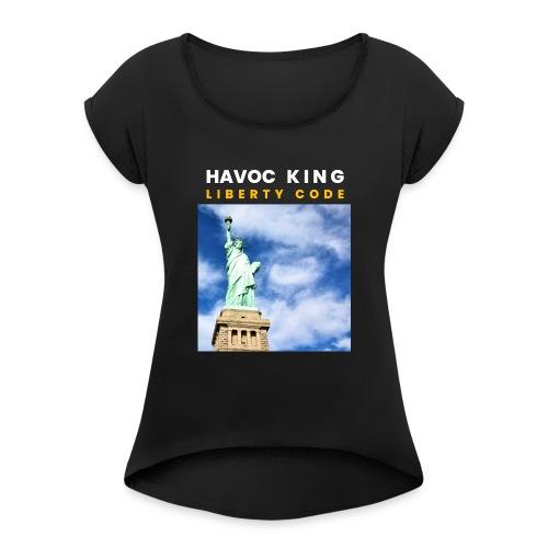 Havoc King Cover - Frauen T-Shirt mit gerollten Ärmeln