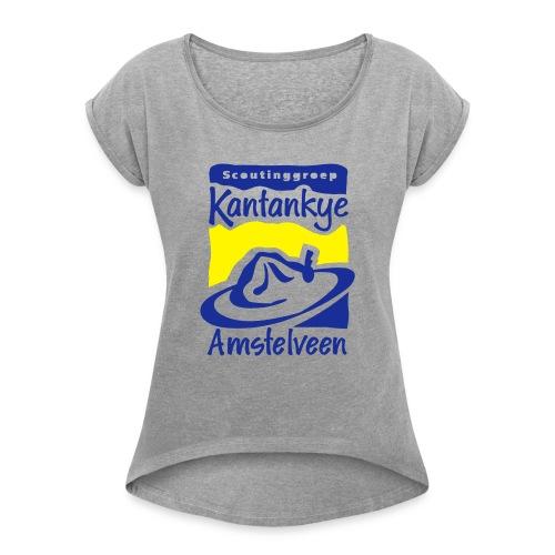 logo simpel 2 - Vrouwen T-shirt met opgerolde mouwen