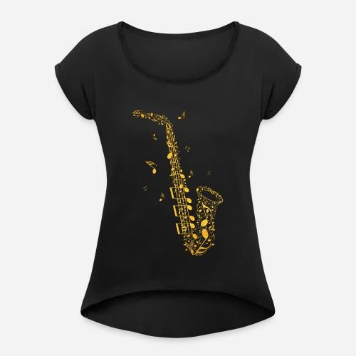 Goldenes Saxophon aus Musiknoten - Frauen T-Shirt mit gerollten Ärmeln