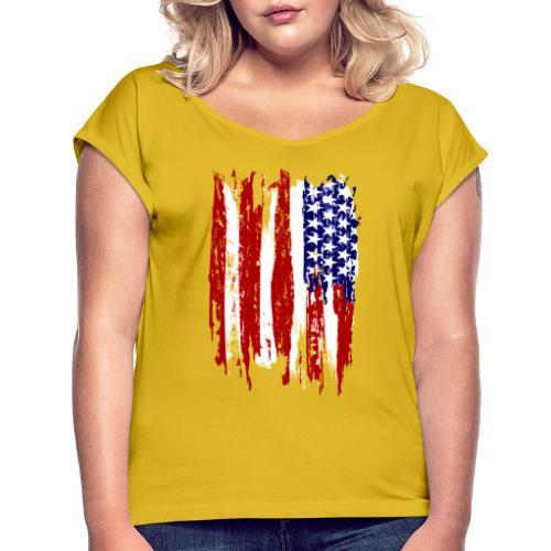 USA - T-shirt med upprullade ärmar dam