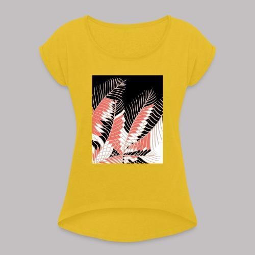 foglie palma 3 living coral - Maglietta da donna con risvolti