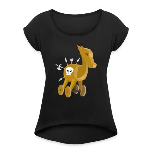 Trojanisches Pferd nicht ganz so ernsthaft - Frauen T-Shirt mit gerollten Ärmeln