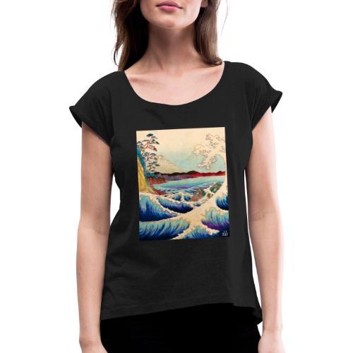 Japanese Wave - Frauen T-Shirt mit gerollten Ärmeln