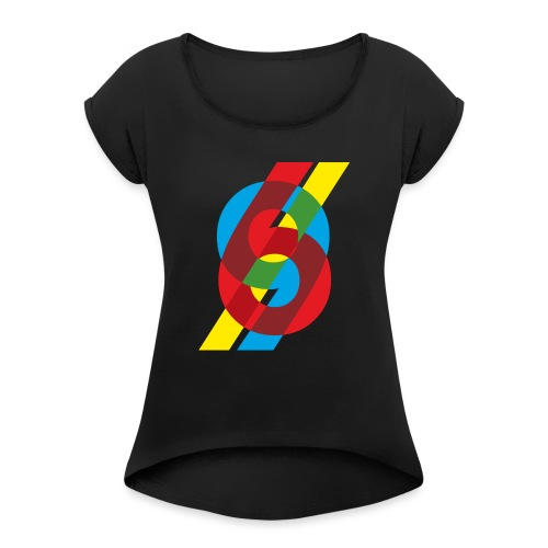colorful numbers - Women's T-Shirt with rolled up sleeves