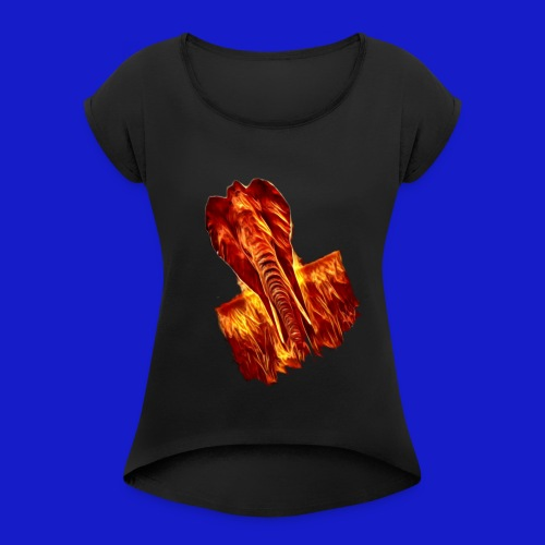 Fire elephant 🔥 🐘 - Women's T-Shirt with rolled up sleeves