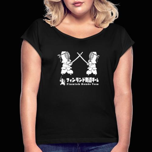 fka team logo white - Naisten T-paita, jossa rullatut hihat