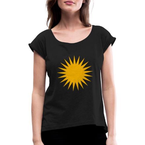 Kurdische Sonne Symbol - Frauen T-Shirt mit gerollten Ärmeln