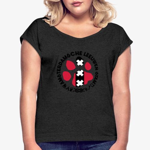 ALS witte cirkel lichtshi - Vrouwen T-shirt met opgerolde mouwen