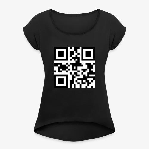 QR-Code Unique - T-skjorte med rulleermer for kvinner