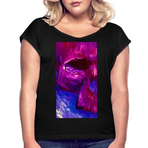 Purple Skull #2 - Vrouwen T-shirt met opgerolde mouwen
