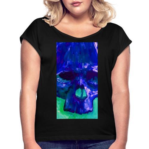Blue Skull - Vrouwen T-shirt met opgerolde mouwen