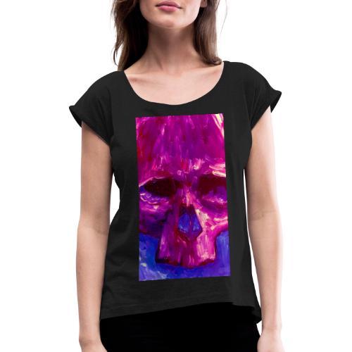 Purple Skull - Vrouwen T-shirt met opgerolde mouwen