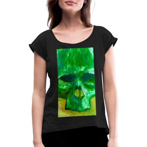 Green Skull - Vrouwen T-shirt met opgerolde mouwen