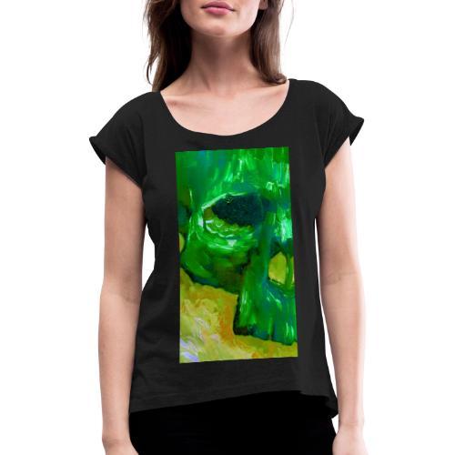 Green Skull #2 - Vrouwen T-shirt met opgerolde mouwen
