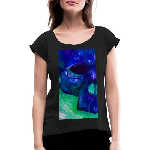 Blue Skull #2 - Vrouwen T-shirt met opgerolde mouwen