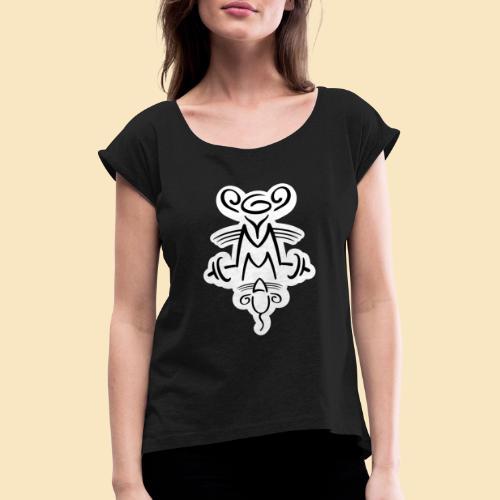 Gymmaus on black - Frauen T-Shirt mit gerollten Ärmeln