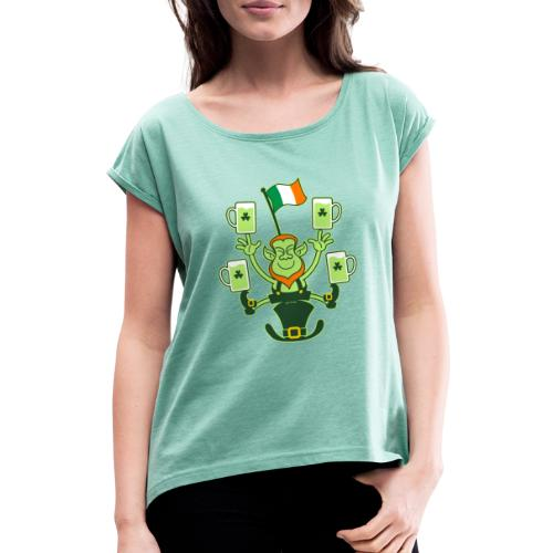 Leprechaun Juggling Beers and Irish Flag - Women's T-Shirt with rolled up sleeves