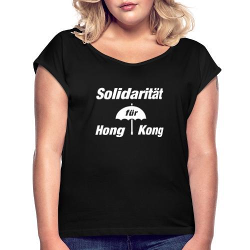 Solidarität für Hong Kong   Umbrella White - Frauen T-Shirt mit gerollten Ärmeln
