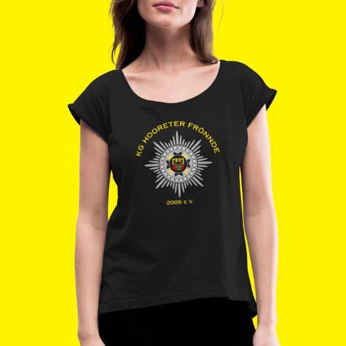 Gelbe Schrift - Frauen T-Shirt mit gerollten Ärmeln