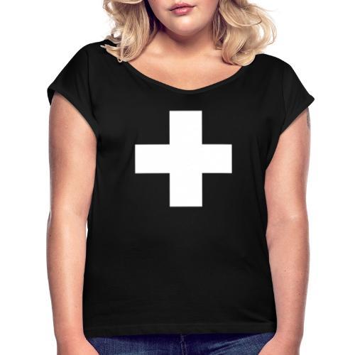 Kreuz - Frauen T-Shirt mit gerollten Ärmeln