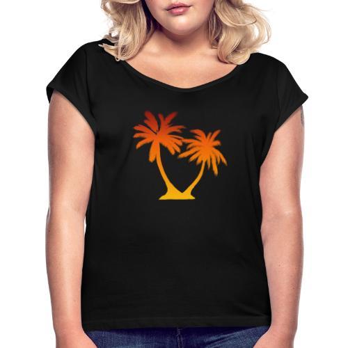 Palm Boom Zonsondergang - Vrouwen T-shirt met opgerolde mouwen