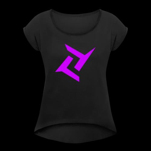 New logo png - Vrouwen T-shirt met opgerolde mouwen
