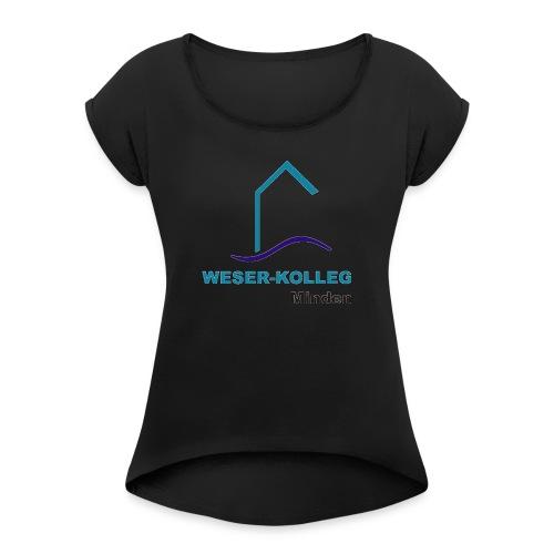 wkmlogooutline - Frauen T-Shirt mit gerollten Ärmeln