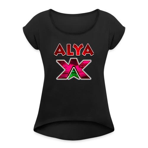 ALYA LOGO LONG - T-skjorte med rulleermer for kvinner
