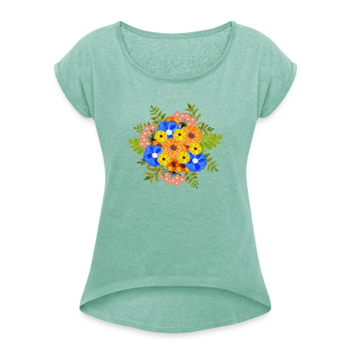 Blue Flower Arragement - Women's T-Shirt with rolled up sleeves