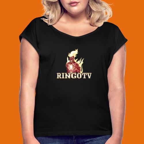 Ringo TV Logo - Frauen T-Shirt mit gerollten Ärmeln