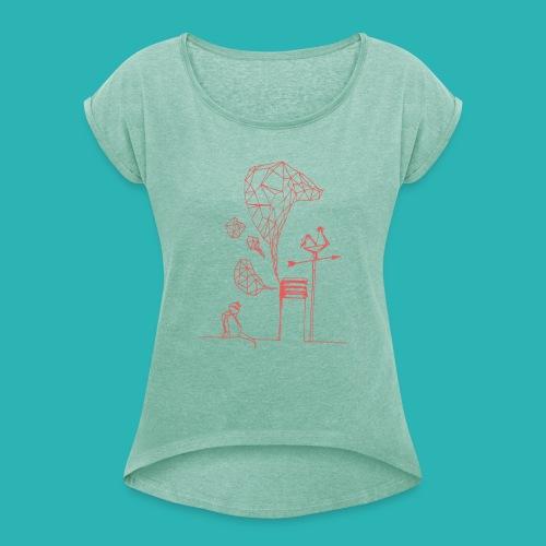 Carta_gatta_pink-png - Maglietta da donna con risvolti